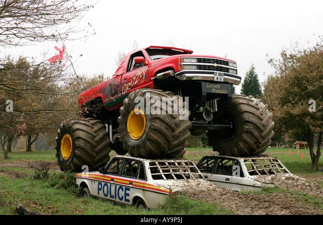 Demonstration Monster Truck Crushing Cars Stock Photos