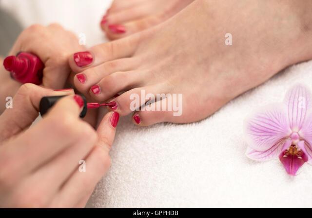 Red Toe Nail Polish Stock Photos & Red Toe Nail Polish ...