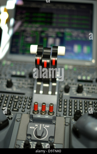 Old Control Panel Levers : Cockpit stock photos images alamy
