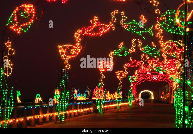 christmas lights along boardwalk virginia beach virginia usa stock image - Christmas Lights Virginia Beach