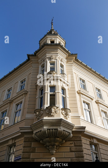 Bay window, Kramergasse, historic center, Klagenfurt, Carinthia, Austria -  Stock Image