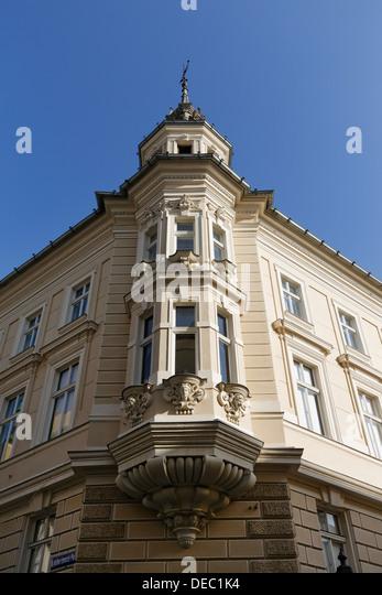 Charmant Bay Window, Kramergasse, Historic Center, Klagenfurt, Carinthia, Austria    Stock Image
