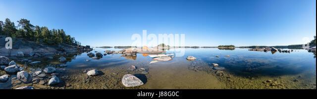A calm and sunny morning at Onas island, archipelago of city of Porvoo, Finland, Europe, EU - Stock Image