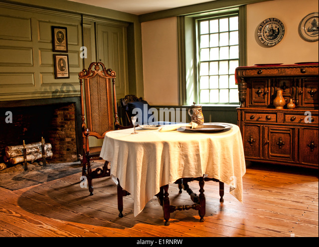 Wooden house window old fashioned curtains stock photos for Old fashioned dining room tables