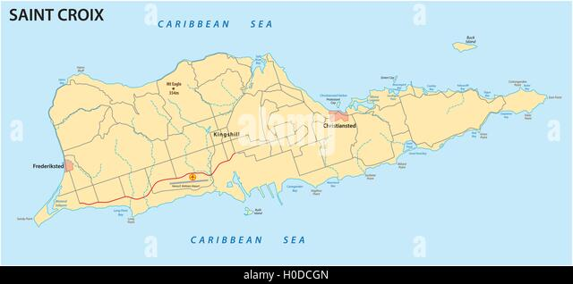 Saint Croix U S Virgin Islands Map Stock Image