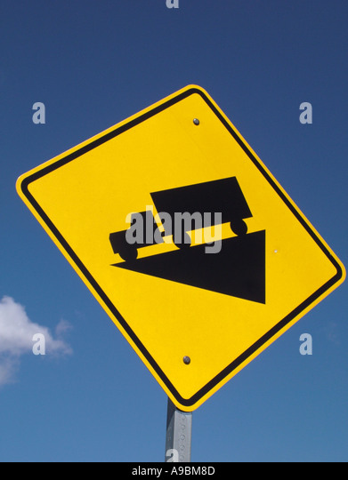 road signs warning steep roads stock photos & road signs warning