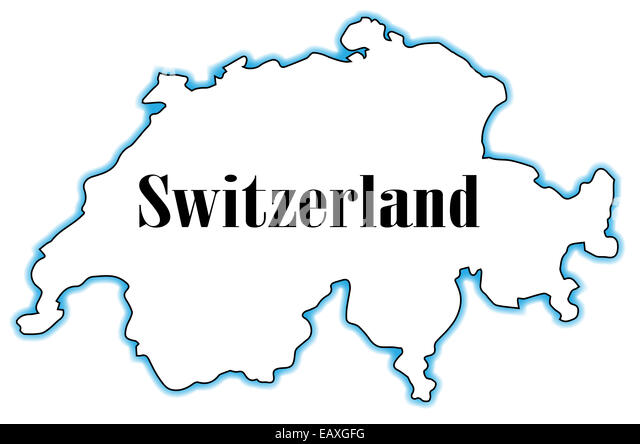 outline map of switzerland over a white background stock image