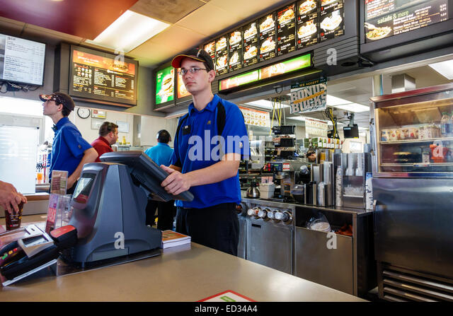 Mcdonalds cashier stock photos