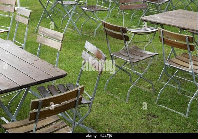 Beer Garden, Chairs, Tables, Drops Water, Grass,   Stock Image
