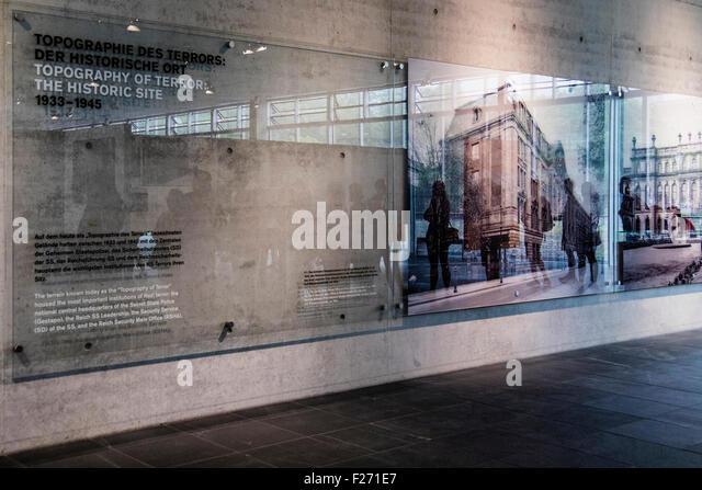 Berlin tourists visit topography of terror indoor and outdoor museum