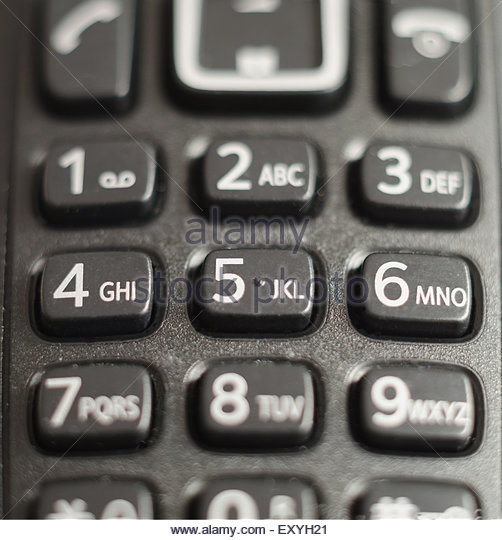 telephone keypad made in black plastic numbers and letters in the keys are used to