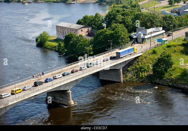 Bridge Across The Narva River, Border Between Estonia And Russia, Russian  Border Control Station