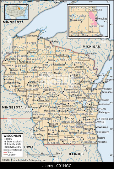 Map Maps Usa Middle West Stock Photos Map Maps Usa Middle West - Political map of minnesota