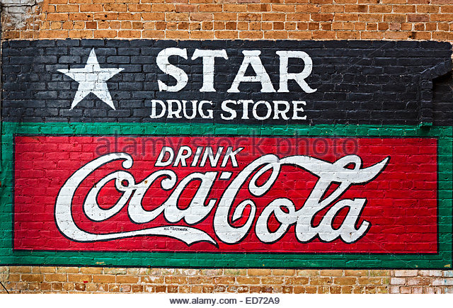 Drug store sign stock photos drug store sign stock for Coca cola wall mural