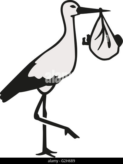 illustration standing stork newborn baby stock photos