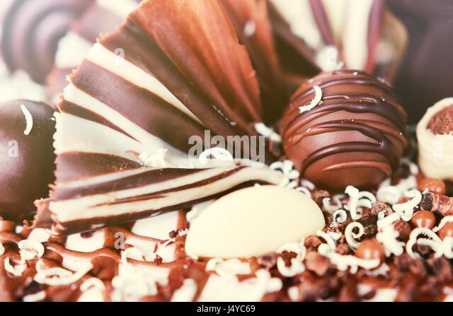 Chocolate cake decoration details. - Stock Image