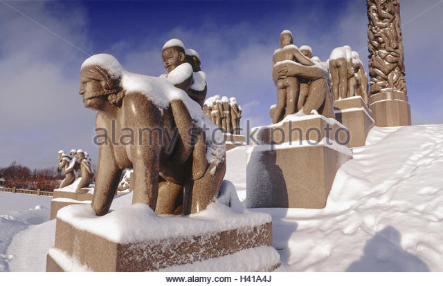 Vigeland park winter stock photos