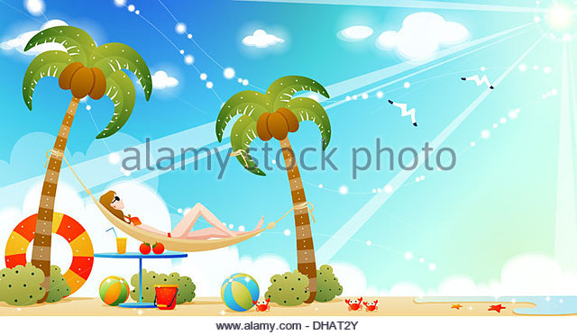 Sunning In A Hammock On The Beach