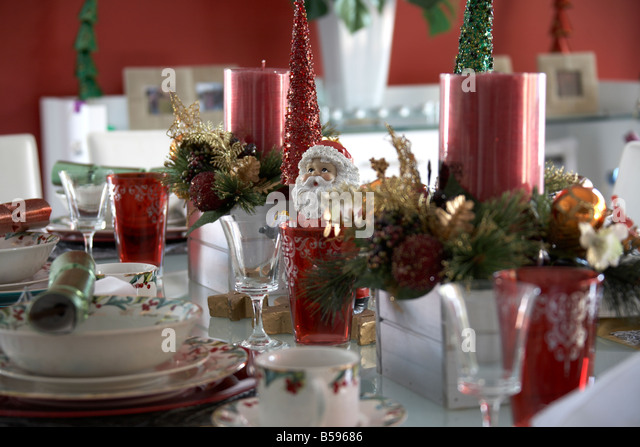 Table christmas decorations stock photos