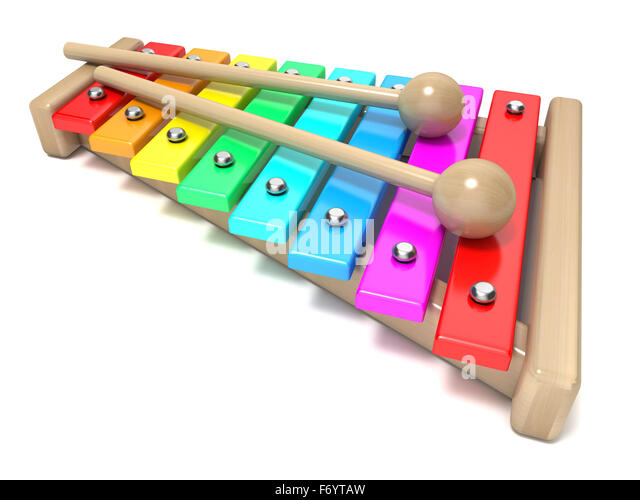 Wooden Rainbow Xylophone Sticks ~ Xylophone wood stock photos images
