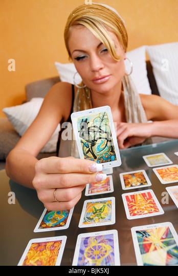 Tarot Card Reading Hands Stock Photos & Tarot Card Reading