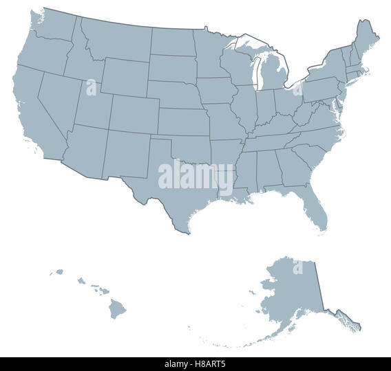 usa united states of america political map the u s states including alaska and hawaii with