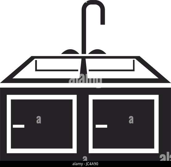 Black And White Cartoon Pic Of A Kitchen Sink