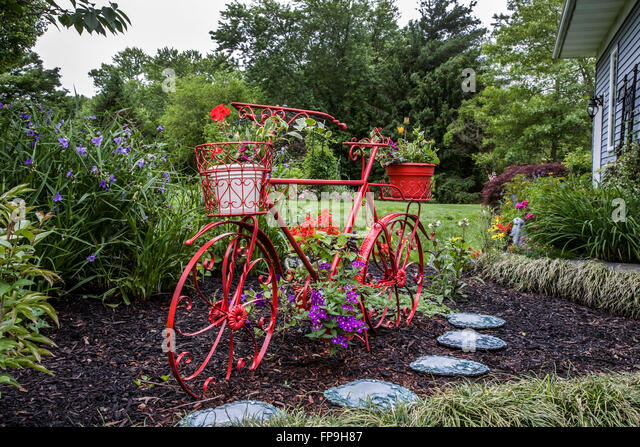 Superb Red Bicycle Close Up With A Flower Pot Garden Art New Jersey Usa With Bike  Planter Garden