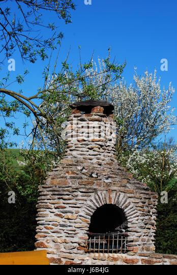 stone fireplace stock image - Steinkamin