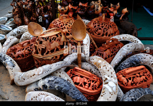 African wood carvings stock photos