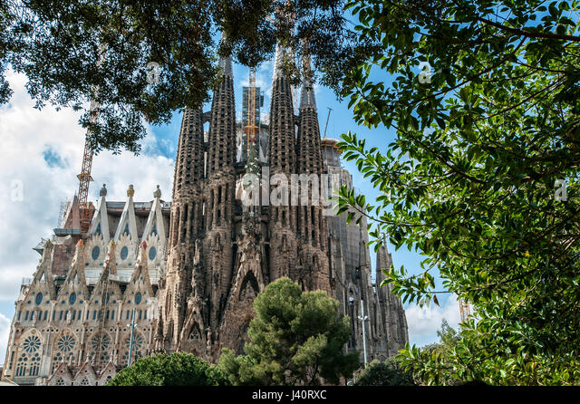Detail der Kirche La Sagrada Familia von Architekt Antoni Gaudi. - Stock Image