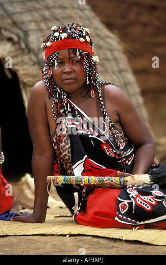 Zulu Traditional Dress In Zulu Kraal Kwazulu Natal