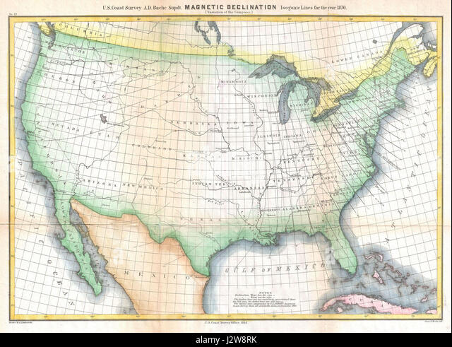 Magnetic Declination Stock Photos Magnetic Declination Stock - Us declination map