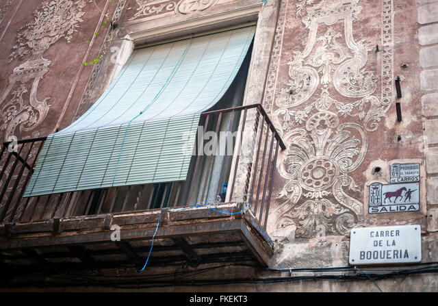 House with sgraffito stock photos house with sgraffito - Calle boqueria barcelona ...