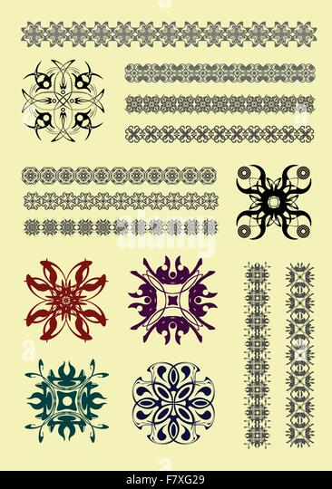 Collection of Ornamental Rule Lines in Different Design styles - Stock Image