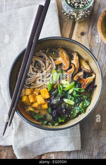 Miso Soba Noodle Soup Stock Image
