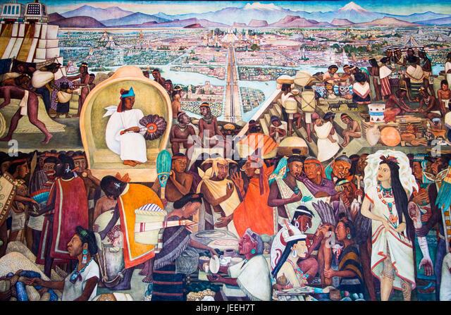 Palacio nacional mexico city stock photos palacio for Diego rivera aztec mural