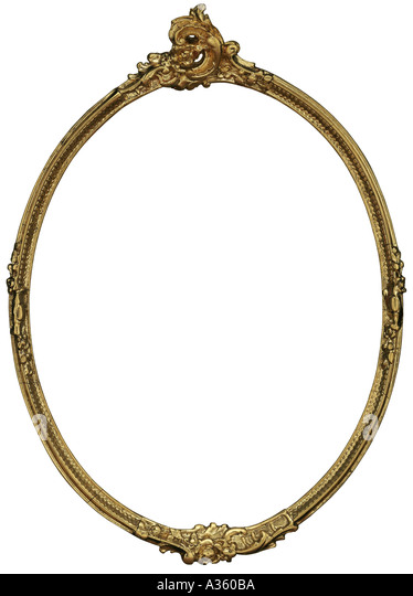 a vertical gold thin decorative ornate oval antique frame stock image