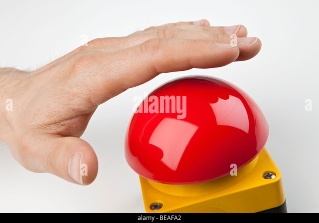 A Hand About To Press Big Red Buzzer