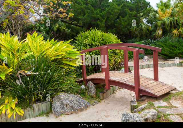 Japanese Garden Stone Bridge japanese dry garden stone bridge stock photos & japanese dry