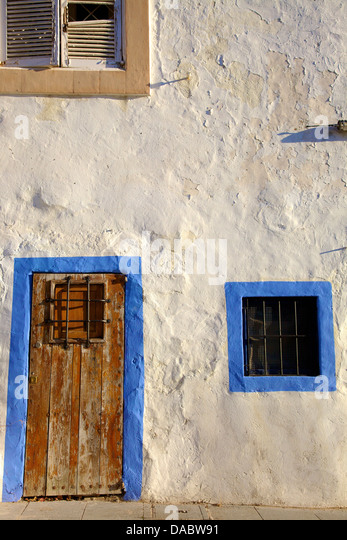 Traditional house wooden old town stock photos for Ibiza classic house