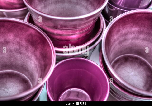 Stack Of Colorful Pottery Garden Pots   Stock Image