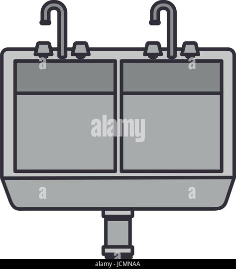 kitchen sink clipart black and white. color image of front view kitchen sink - stock vector clipart black and white