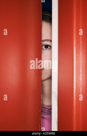 Woman Behind Secured Door Looking Out Of Apartment - Stock Image & Locks Door Stock Photos \u0026 Locks Door Stock Images - Alamy Pezcame.Com