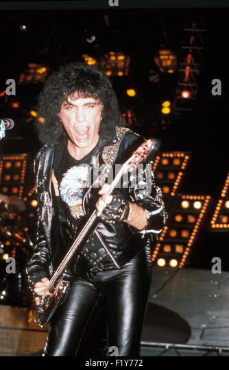 gene simmons 1980. kiss us rock group with gene simmons about 1980. photo jeffrey mayer - stock image 1980