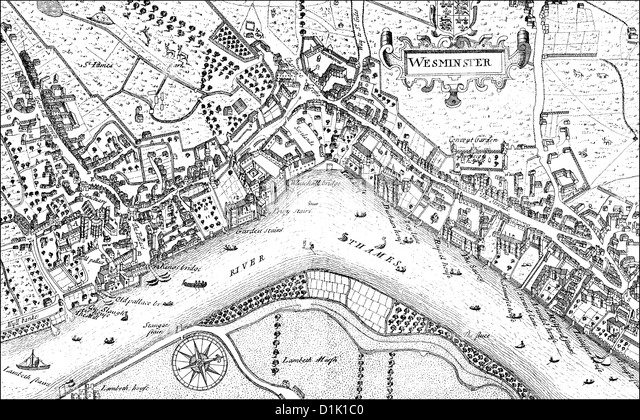 London River Thames Map Stock Photos  London River Thames Map
