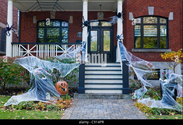 halloween decorations on a house in outremont area montreal canada stock image