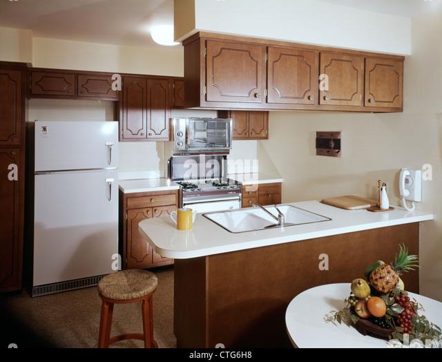 1960s 1970s galley kitchen interior   stock image vintage kitchen appliances stock photos  u0026 vintage kitchen      rh   alamy com