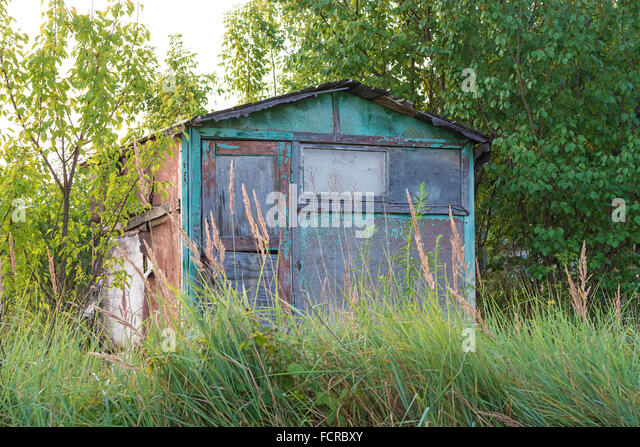 abandoned garden house surrounded by trees and grass shooting at dawn stock image