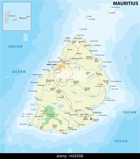 Map Of Mauritius Stock Photos Map Of Mauritius Stock Images Alamy - Detailed map of mauritius